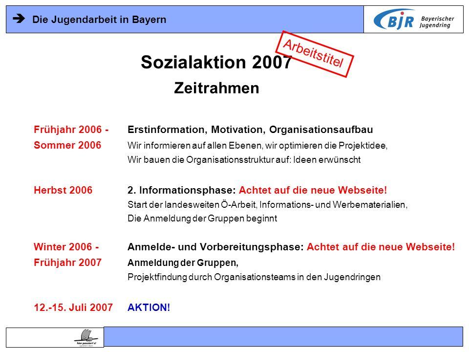 Die Jugendarbeit in Bayern Sozialaktion 2007 Zeitrahmen Frühjahr 2006 -Erstinformation, Motivation, Organisationsaufbau Sommer 2006 Wir informieren au