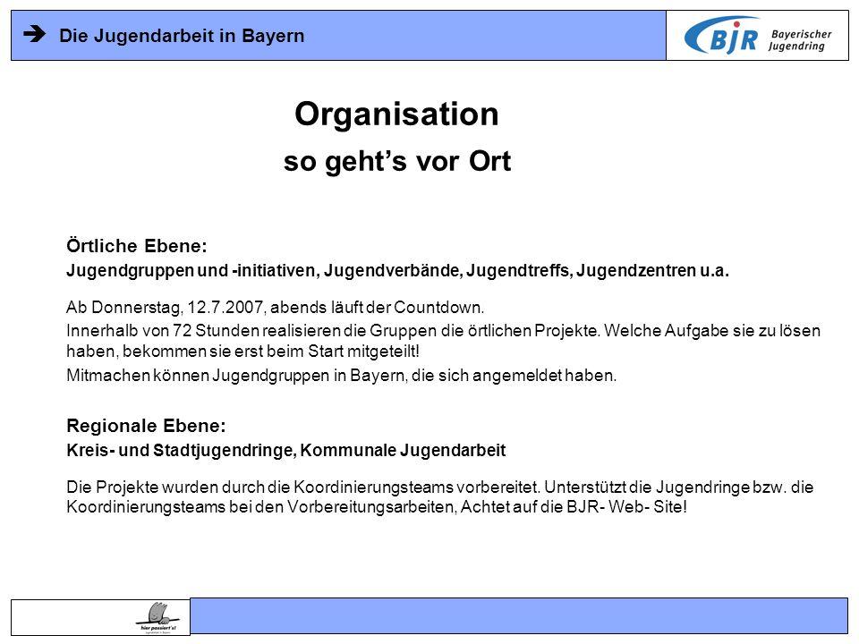 Die Jugendarbeit in Bayern Örtliche Ebene: Jugendgruppen und -initiativen, Jugendverbände, Jugendtreffs, Jugendzentren u.a. Ab Donnerstag, 12.7.2007,