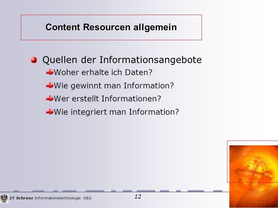 ZT Schranz Informationstechnologie KEG 12 Quellen der Informationsangebote Woher erhalte ich Daten.