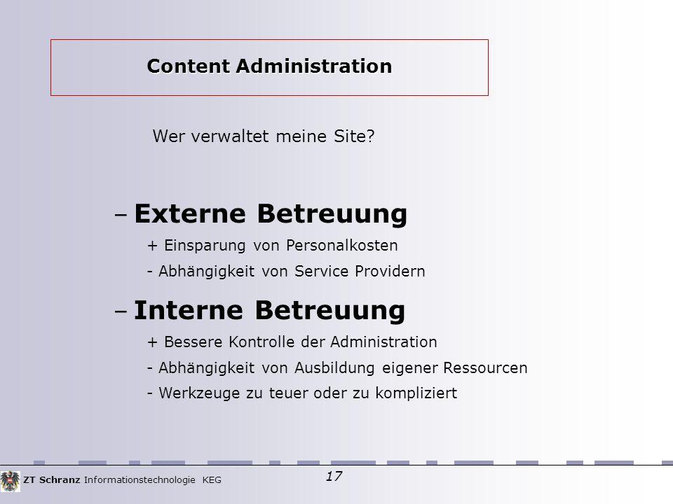 ZT Schranz Informationstechnologie KEG 17 Wer verwaltet meine Site.