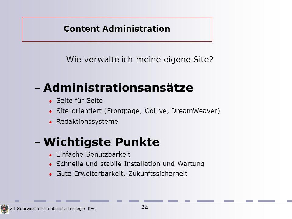 ZT Schranz Informationstechnologie KEG 18 Wie verwalte ich meine eigene Site.