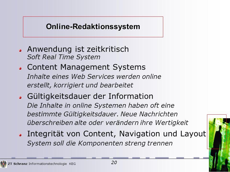 ZT Schranz Informationstechnologie KEG 20 Online-Redaktionssystem Anwendung ist zeitkritisch Soft Real Time System Content Management Systems Inhalte eines Web Services werden online erstellt, korrigiert und bearbeitet Gültigkeitsdauer der Information Die Inhalte in online Systemen haben oft eine bestimmte Gültigkeitsdauer.
