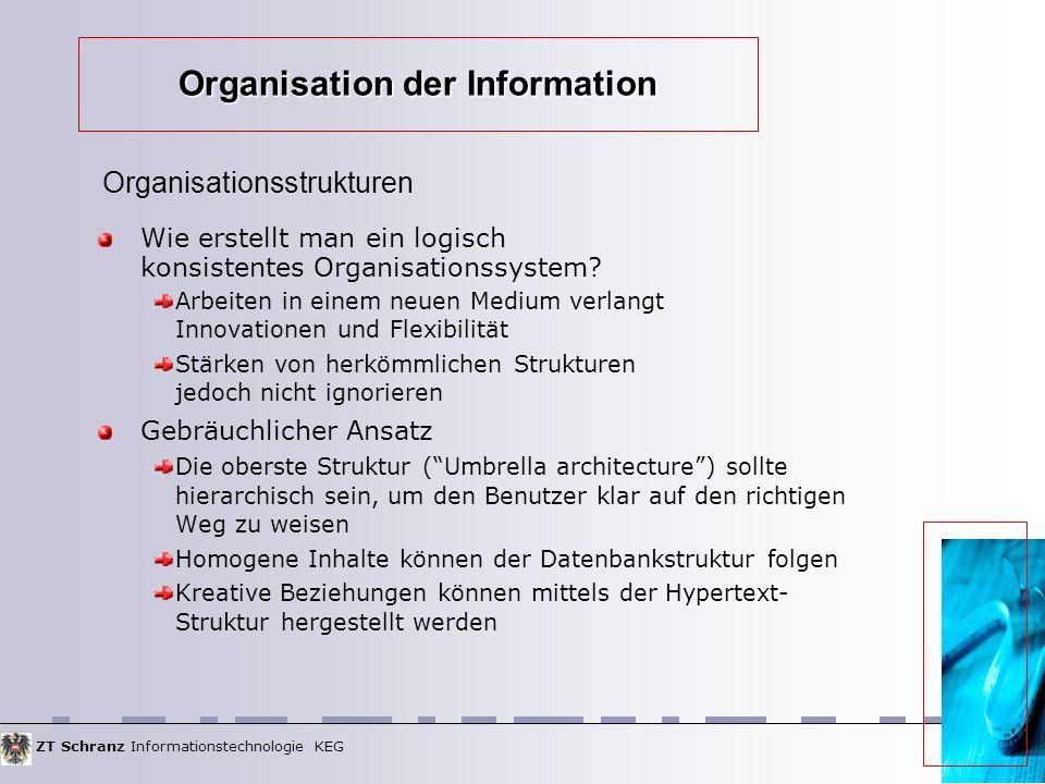 ZT Schranz Informationstechnologie KEG Organisation der Information Wie erstellt man ein logisch konsistentes Organisationssystem.