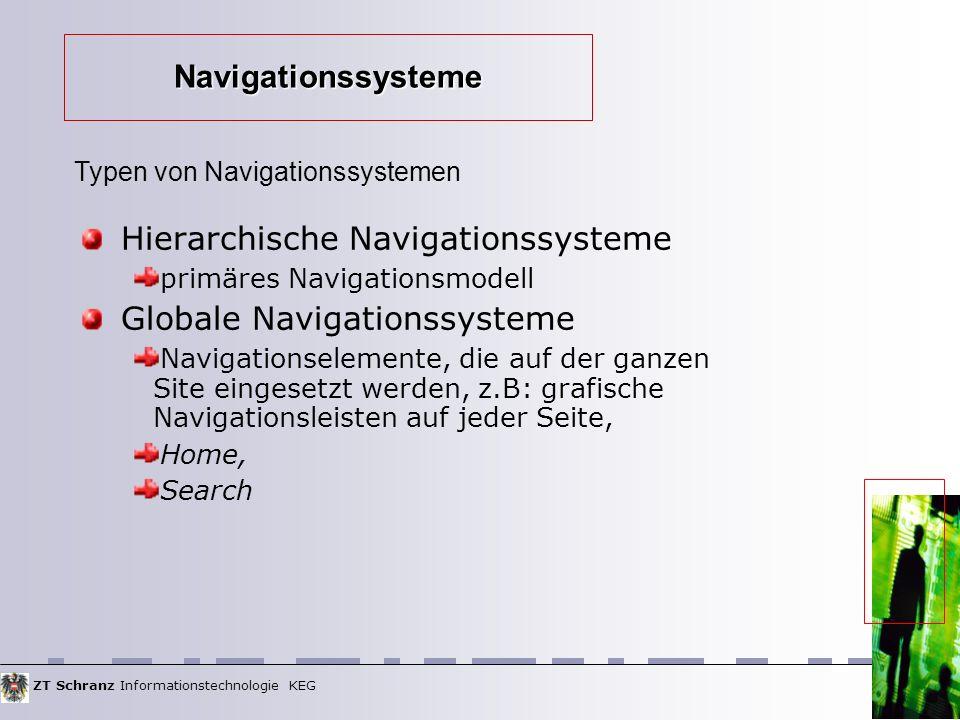 ZT Schranz Informationstechnologie KEG Hierarchische Navigationssysteme primäres Navigationsmodell Globale Navigationssysteme Navigationselemente, die auf der ganzen Site eingesetzt werden, z.B: grafische Navigationsleisten auf jeder Seite, Home, Search Typen von Navigationssystemen Navigationssysteme