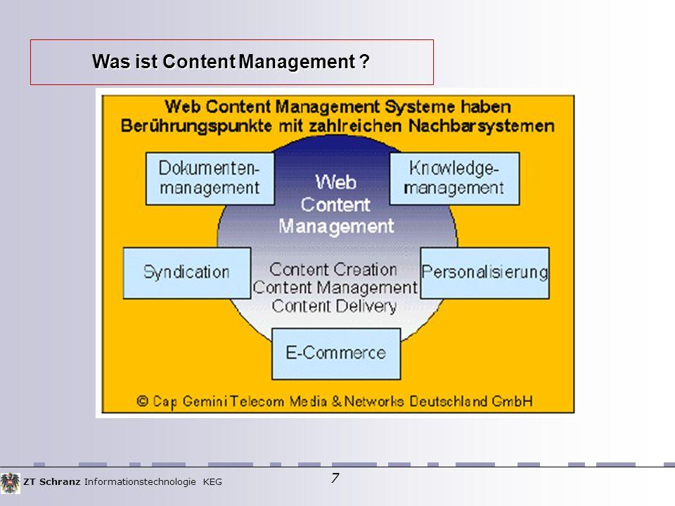ZT Schranz Informationstechnologie KEG 7 Was ist Content Management