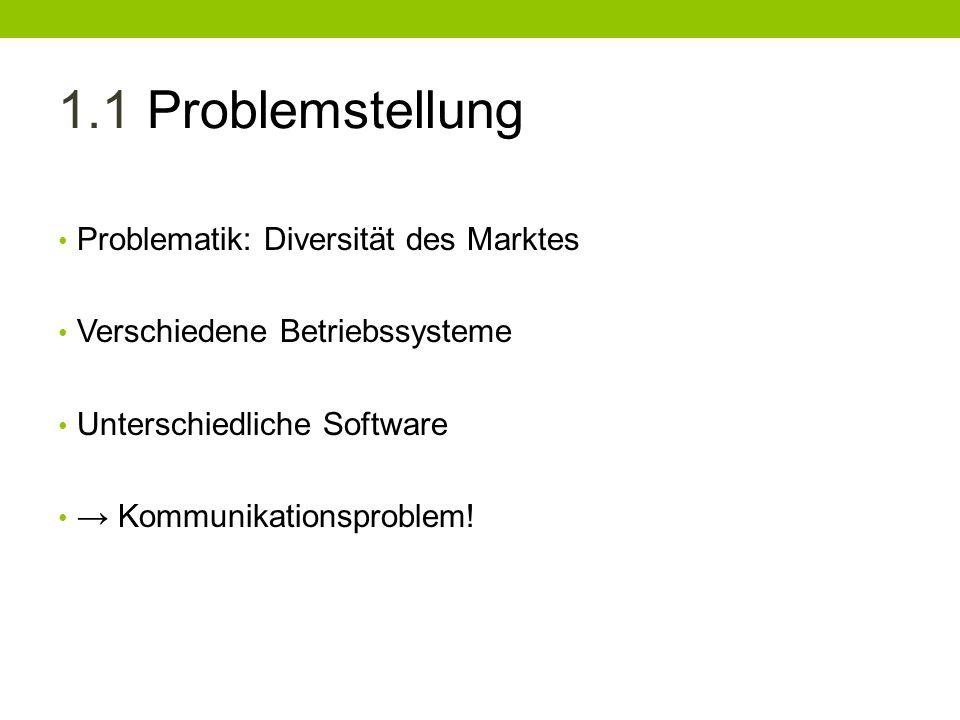 1.1 Problemstellung Problematik: Diversität des Marktes Verschiedene Betriebssysteme Unterschiedliche Software Kommunikationsproblem!