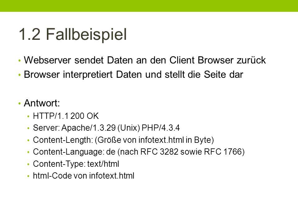 1.2 Fallbeispiel Webserver sendet Daten an den Client Browser zurück Browser interpretiert Daten und stellt die Seite dar Antwort: HTTP/1.1 200 OK Ser