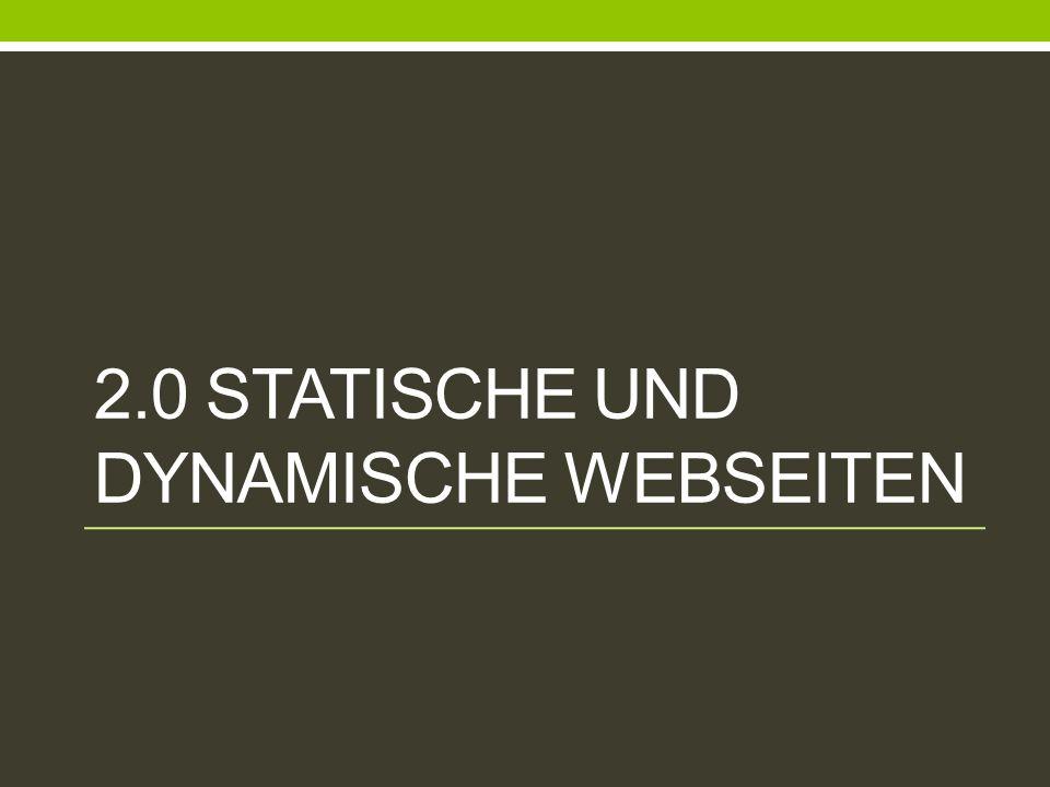 2.1 Statische Webseiten Charakteristik: Webseite basiert auf reinem HTML Code Alle Seitenelemente werden bei einer Client Anfrage übertragen und geladen Problem: Datenübertragung & Modifikation