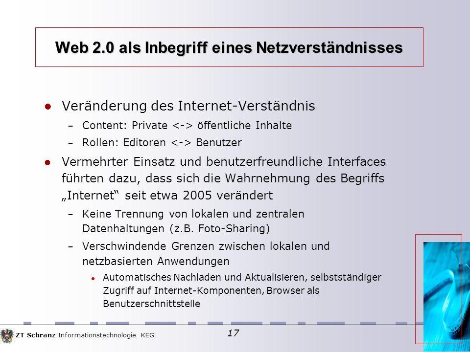 ZT Schranz Informationstechnologie KEG 17 Web 2.0 als Inbegriff eines Netzverständnisses Veränderung des Internet-Verständnis – Content: Private öffentliche Inhalte – Rollen: Editoren Benutzer Vermehrter Einsatz und benutzerfreundliche Interfaces führten dazu, dass sich die Wahrnehmung des Begriffs Internet seit etwa 2005 verändert – Keine Trennung von lokalen und zentralen Datenhaltungen (z.B.