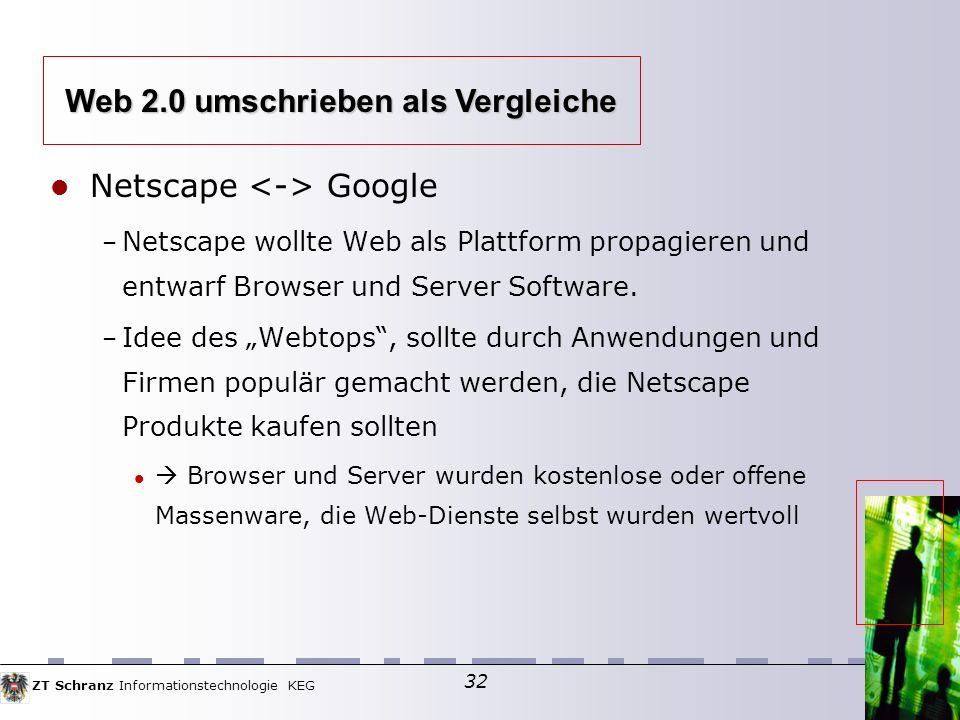 ZT Schranz Informationstechnologie KEG 32 Netscape Google – Netscape wollte Web als Plattform propagieren und entwarf Browser und Server Software.
