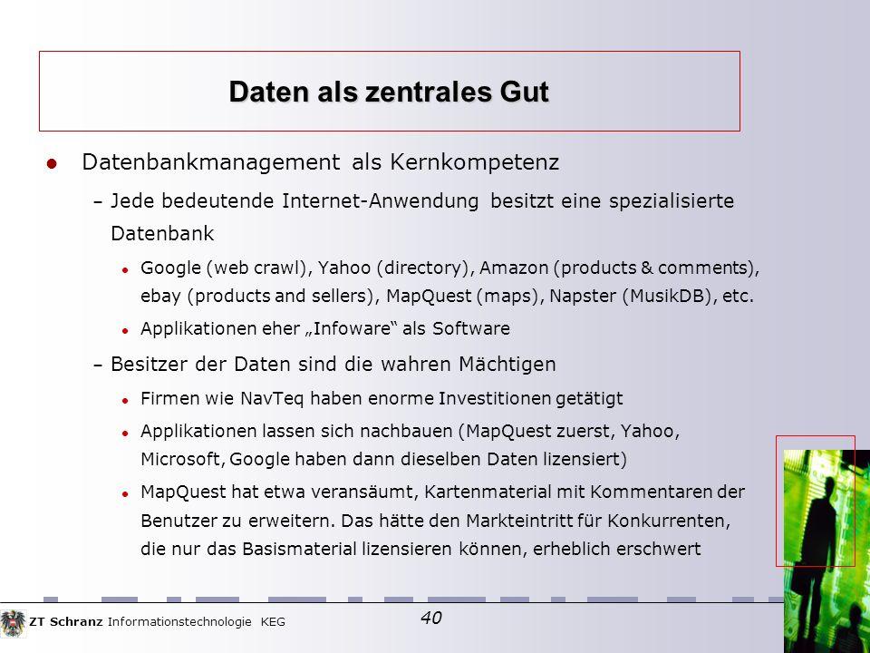 ZT Schranz Informationstechnologie KEG 40 Datenbankmanagement als Kernkompetenz – Jede bedeutende Internet-Anwendung besitzt eine spezialisierte Datenbank Google (web crawl), Yahoo (directory), Amazon (products & comments), ebay (products and sellers), MapQuest (maps), Napster (MusikDB), etc.