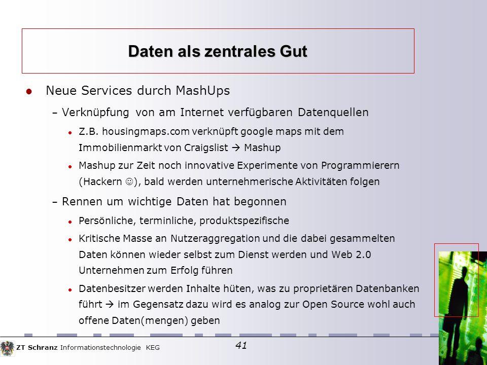 ZT Schranz Informationstechnologie KEG 41 Neue Services durch MashUps – Verknüpfung von am Internet verfügbaren Datenquellen Z.B.