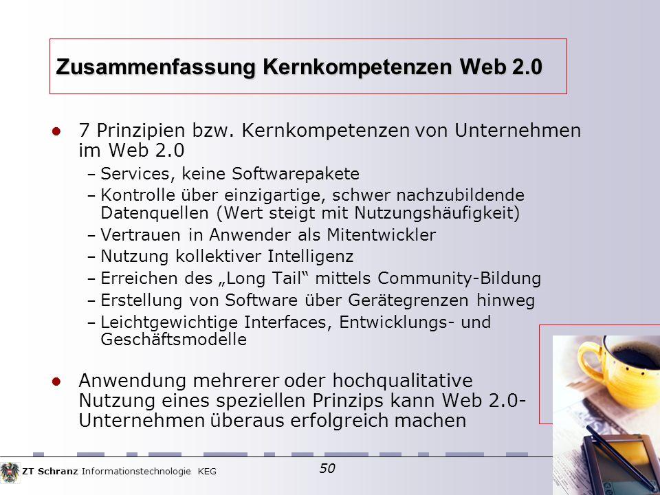 ZT Schranz Informationstechnologie KEG 50 Zusammenfassung Kernkompetenzen Web 2.0 7 Prinzipien bzw.