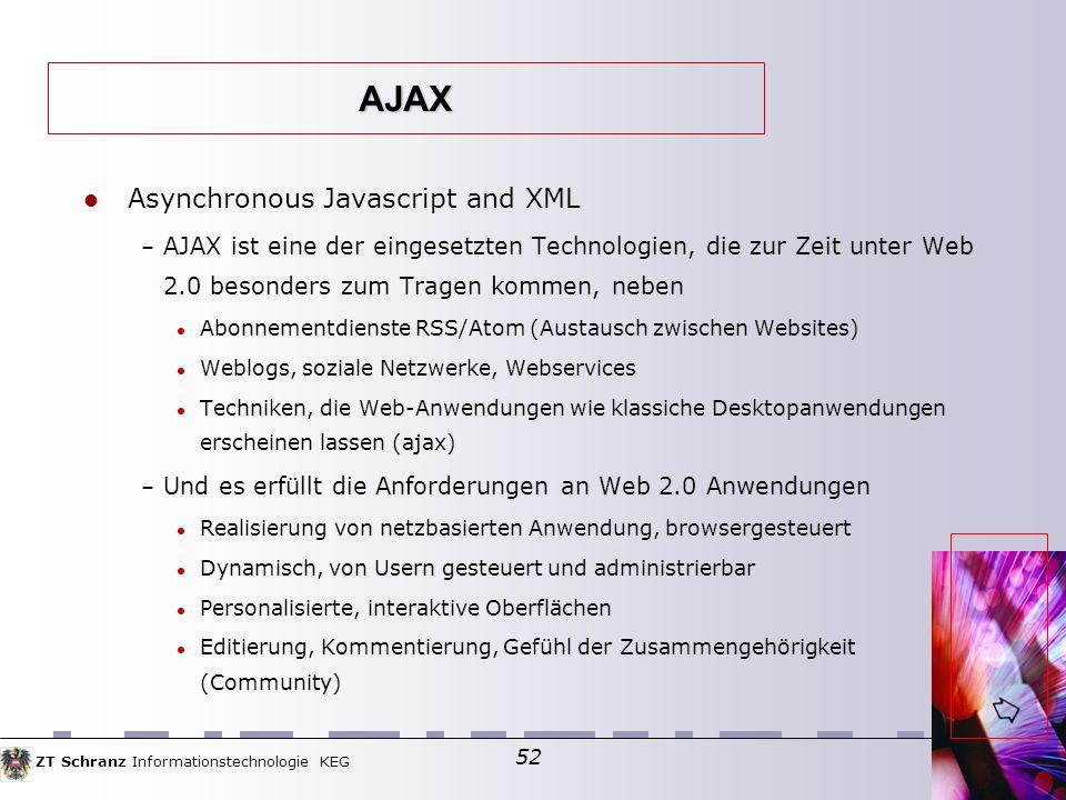 ZT Schranz Informationstechnologie KEG 52 Asynchronous Javascript and XML – AJAX ist eine der eingesetzten Technologien, die zur Zeit unter Web 2.0 besonders zum Tragen kommen, neben Abonnementdienste RSS/Atom (Austausch zwischen Websites) Weblogs, soziale Netzwerke, Webservices Techniken, die Web-Anwendungen wie klassiche Desktopanwendungen erscheinen lassen (ajax) – Und es erfüllt die Anforderungen an Web 2.0 Anwendungen Realisierung von netzbasierten Anwendung, browsergesteuert Dynamisch, von Usern gesteuert und administrierbar Personalisierte, interaktive Oberflächen Editierung, Kommentierung, Gefühl der Zusammengehörigkeit (Community) AJAX