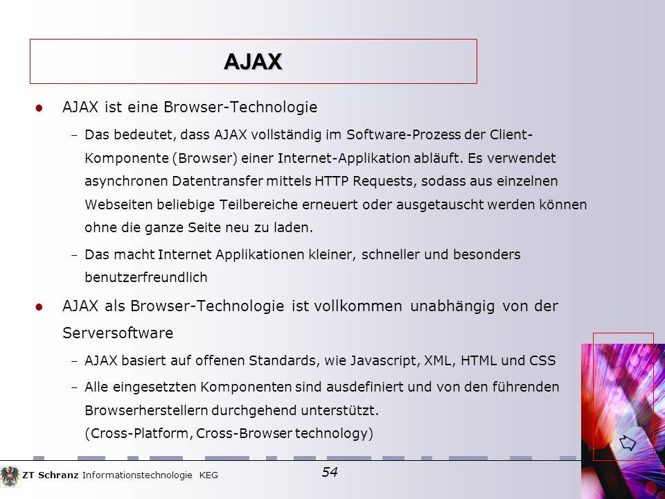 ZT Schranz Informationstechnologie KEG 54 AJAX ist eine Browser-Technologie – Das bedeutet, dass AJAX vollständig im Software-Prozess der Client- Komponente (Browser) einer Internet-Applikation abläuft.