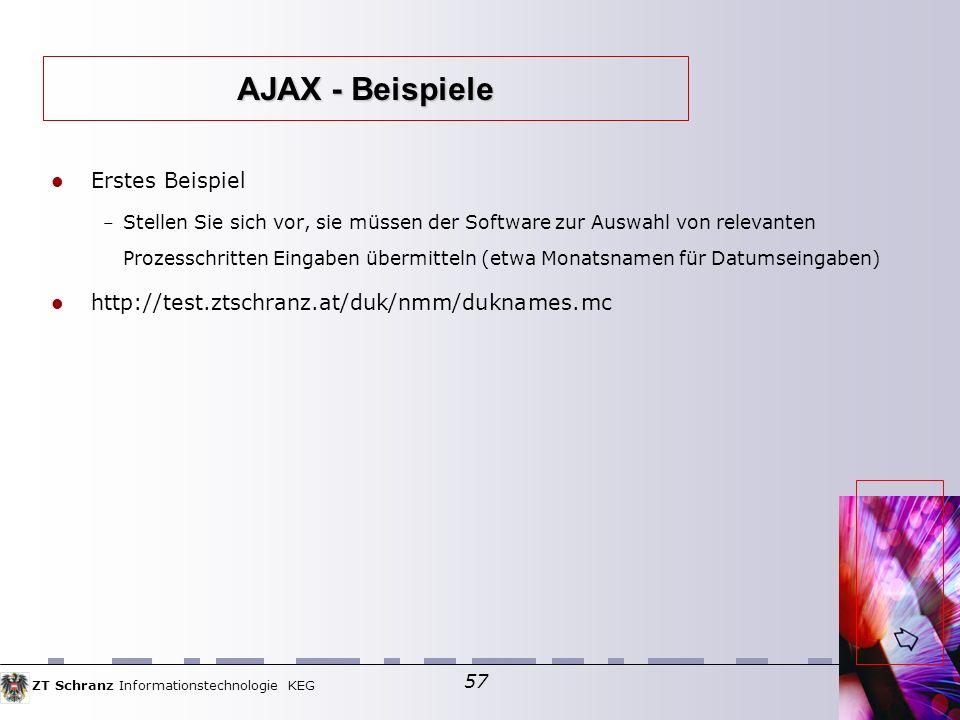 ZT Schranz Informationstechnologie KEG 57 Erstes Beispiel – Stellen Sie sich vor, sie müssen der Software zur Auswahl von relevanten Prozesschritten Eingaben übermitteln (etwa Monatsnamen für Datumseingaben) http://test.ztschranz.at/duk/nmm/duknames.mc AJAX - Beispiele