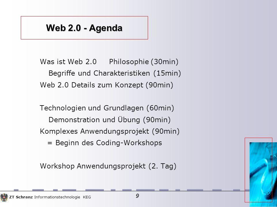 ZT Schranz Informationstechnologie KEG 9 Web 2.0 - Agenda Was ist Web 2.0Philosophie (30min) Begriffe und Charakteristiken (15min) Web 2.0 Details zum Konzept (90min) Technologien und Grundlagen (60min) Demonstration und Übung (90min) Komplexes Anwendungsprojekt (90min) = Beginn des Coding-Workshops Workshop Anwendungsprojekt (2.