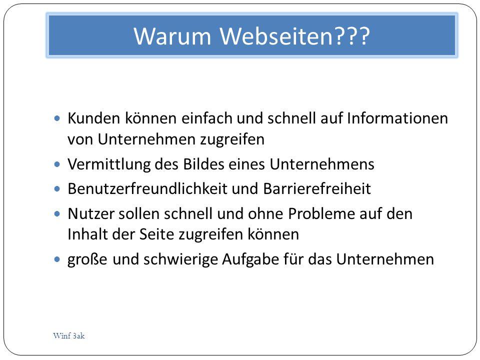 Warum Webseiten??? Winf 3ak Kunden können einfach und schnell auf Informationen von Unternehmen zugreifen Vermittlung des Bildes eines Unternehmens Be