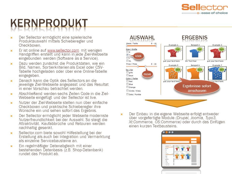 Der Sellector ermöglicht eine spielerische Produktauswahl mittels Schieberegler und Checkboxen. Er ist online auf www.sellector.com mit wenigen Handgr