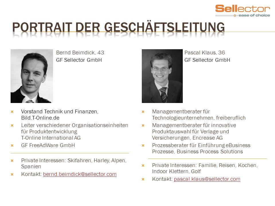Bernd Beimdick, 43 GF Sellector GmbH Vorstand Technik und Finanzen, Bild.T-Online.de Leiter verschiedener Organisationseinheiten für Produktentwicklun