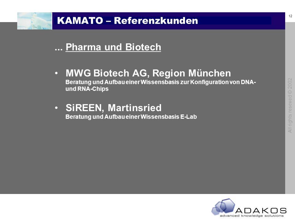 12 All rights reseved © 2002 KAMATO – Referenzkunden...Pharma und Biotech MWG Biotech AG, Region München Beratung und Aufbau einer Wissensbasis zur Konfiguration von DNA- und RNA-Chips SiREEN, Martinsried Beratung und Aufbau einer Wissensbasis E-Lab