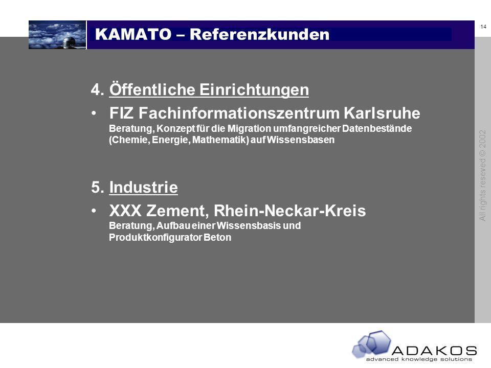 13 All rights reseved © 2002 KAMATO – Referenzkunden 3.Medizin MD Medicus, Ludwigshafen Beratung und Softwarelizenz, Wissensbasen für Krankenkassen ID