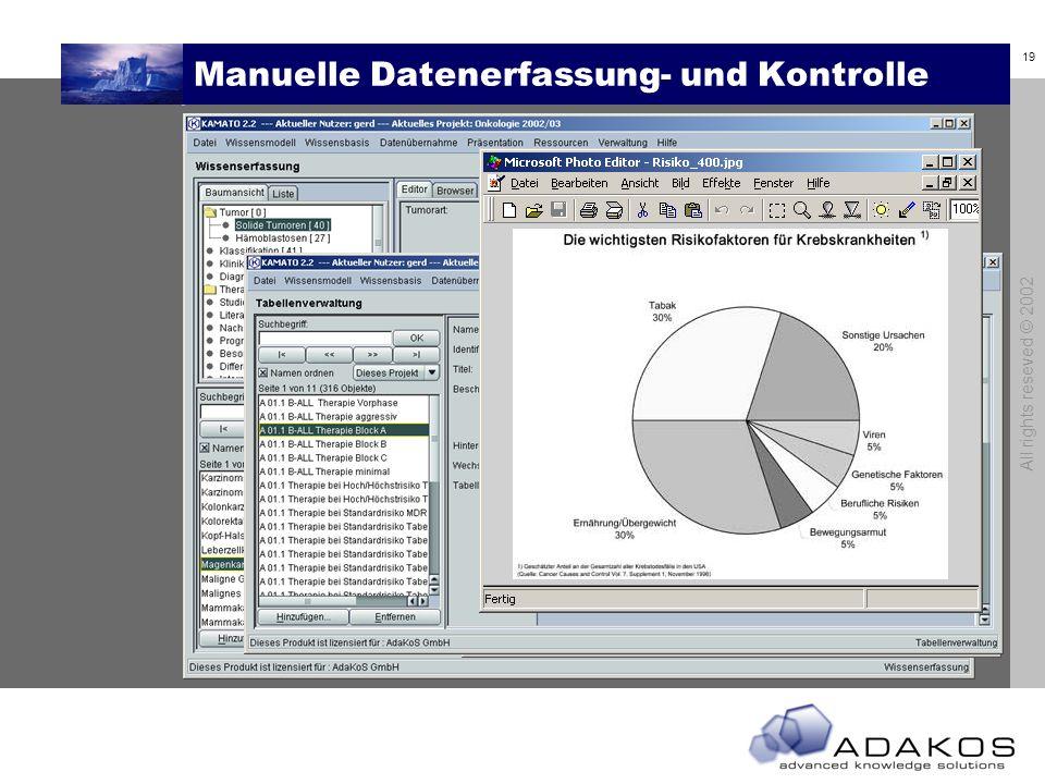 18 All rights reseved © 2002 Inhalte erfassen und prüfen Wissensbasis XML-Import Manuelle Erfassung Capturing