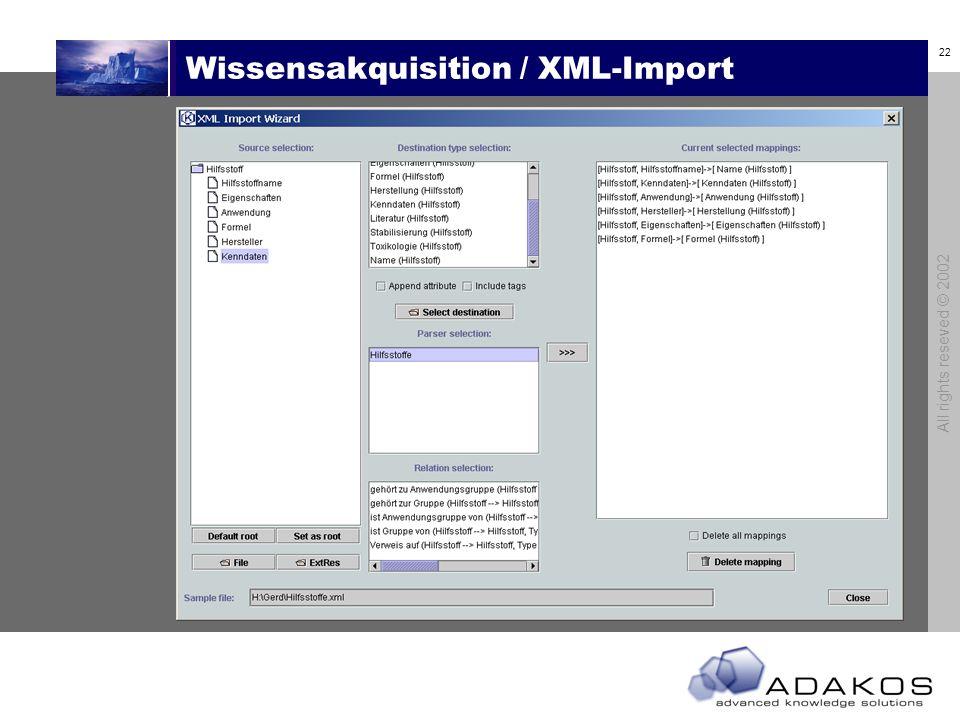 21 All rights reseved © 2002 Wissensakquisition / XML-Import Import Modul Import- vorlagen Wissens- basis XML Dokument Externe Daten- bank