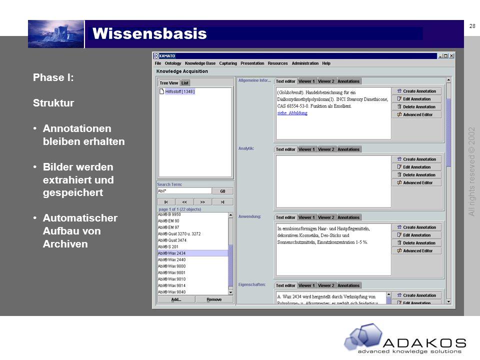 28 All rights reseved © 2002 Wissensbasis Phase I: Struktur Annotationen bleiben erhalten Bilder werden extrahiert und gespeichert Automatischer Aufbau von Archiven