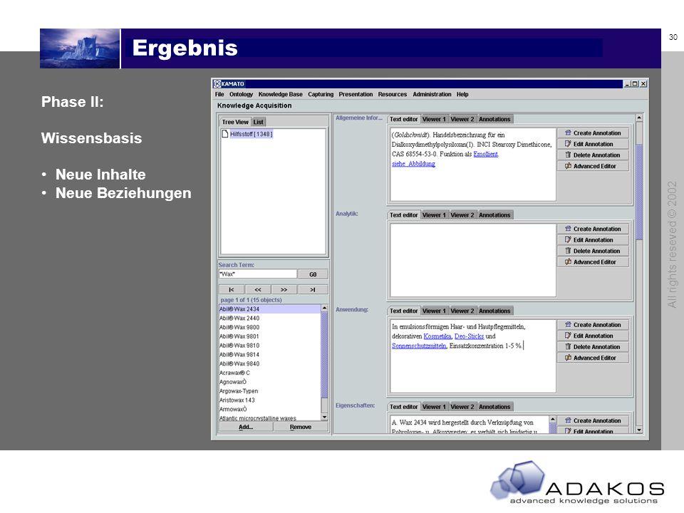 29 All rights reseved © 2002 Inhaltsanalyse Phase II: Inhalte Konzepte werden erkannt Links zu - Konzepten - Glossareinträgen - Literatureinträgen - D