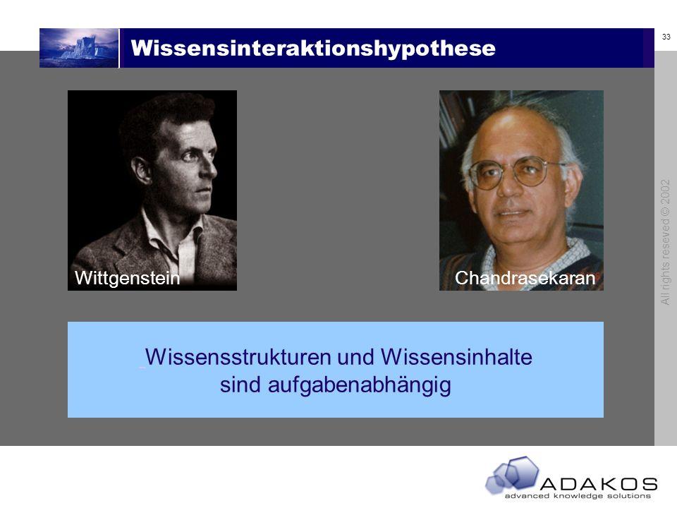 33 All rights reseved © 2002 Wissensinteraktionshypothese Wittgenstein Wissensstrukturen und Wissensinhalte sind aufgabenabhängig Chandrasekaran