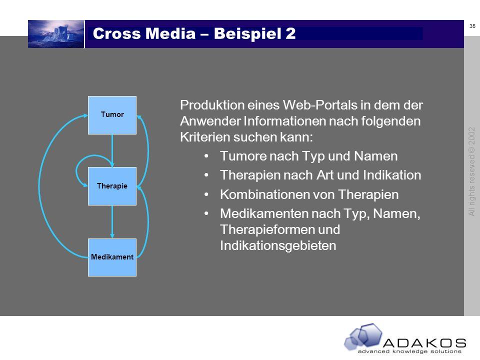 34 All rights reseved © 2002 Cross Media – Beispiel 1 Tumor Therapie Medikament Produktion eines Kompendiums zur Krebstherapie Das Kompendium ist sort
