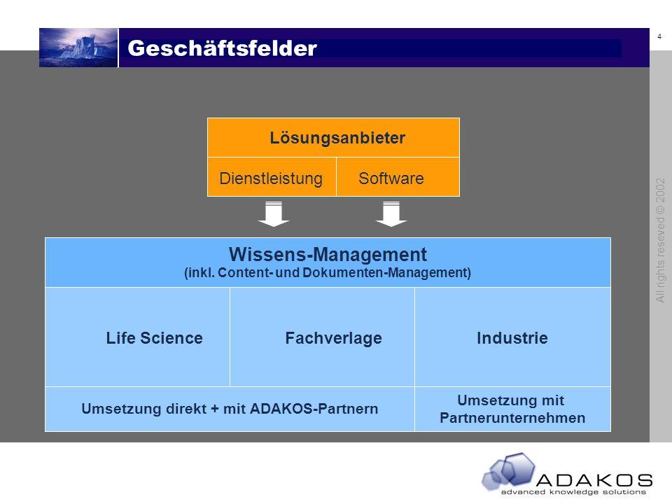 4 All rights reseved © 2002 Geschäftsfelder Lösungsanbieter DienstleistungSoftware Life Science Fachverlage Industrie Wissens-Management (inkl.