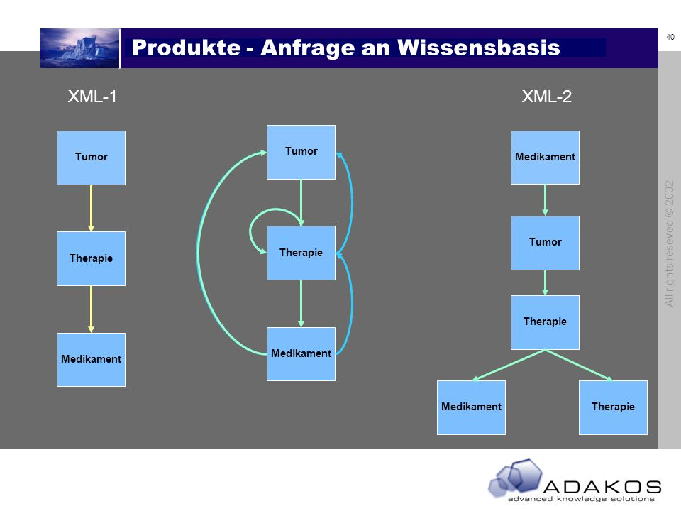 40 All rights reseved © 2002 Produkte - Anfrage an Wissensbasis Tumor Therapie Medikament Tumor Therapie Medikament XML-1 Medikament Tumor Therapie XML-2 TherapieMedikament