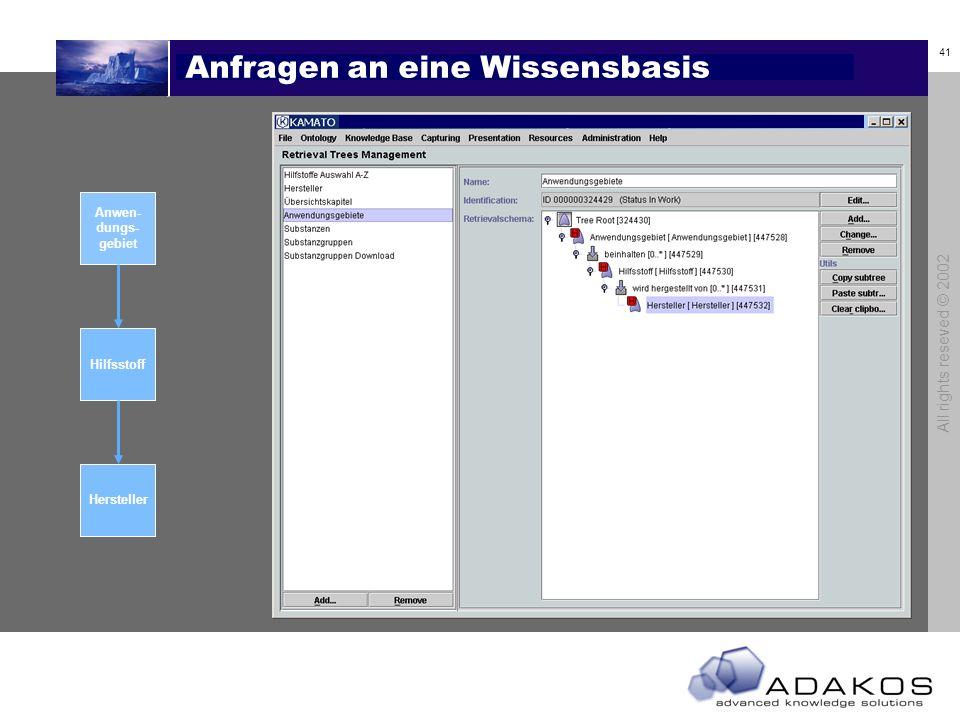 41 All rights reseved © 2002 Anfragen an eine Wissensbasis Anwen- dungs- gebiet Hilfsstoff Hersteller Hilfsstoff Anwen- dungs- gebiet Hersteller Übersicht