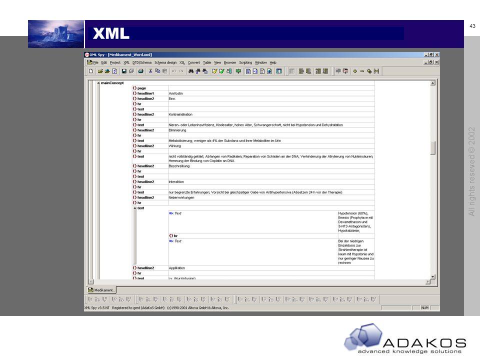 42 All rights reseved © 2002 Cross Media Produktion XML Dokument (KM) XSL Prozessor XSL Vorlagen XML Dokument (Layout) Visual Basic HTML Prozessor PDF