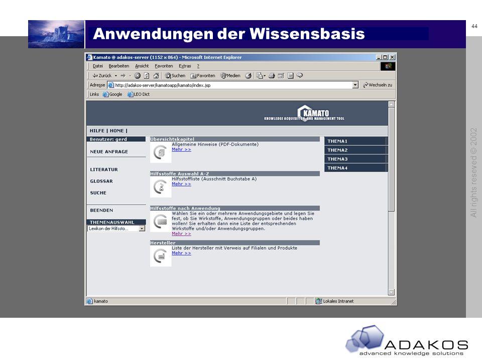 44 All rights reseved © 2002 Anwendungen der Wissensbasis