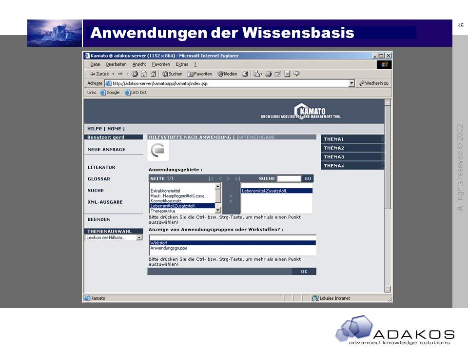 45 All rights reseved © 2002 Anwendungen der Wissensbasis