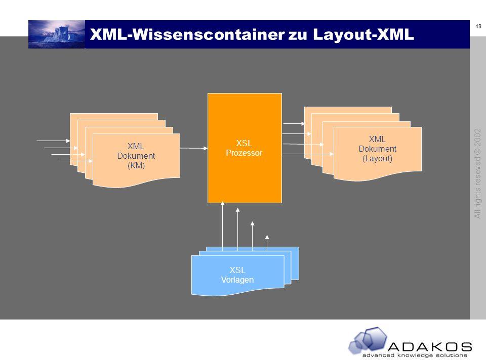 48 All rights reseved © 2002 XML-Wissenscontainer zu Layout-XML XML Dokument (KM) XSL Prozessor XSL Vorlagen XML Dokument (Layout)