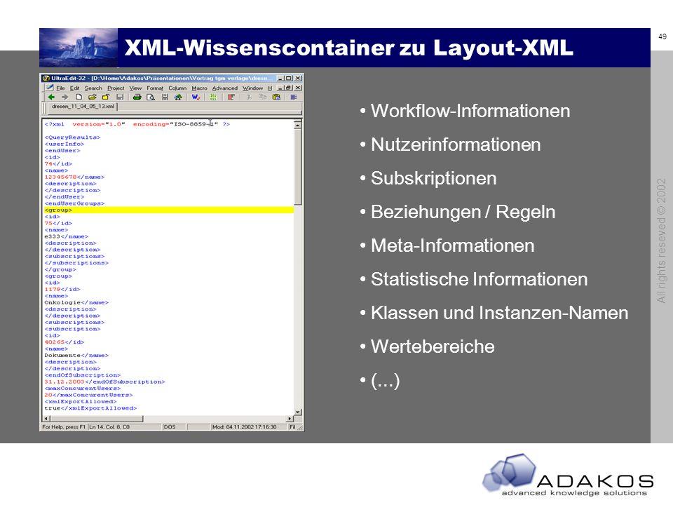 49 All rights reseved © 2002 XML-Wissenscontainer zu Layout-XML Workflow-Informationen Nutzerinformationen Subskriptionen Beziehungen / Regeln Meta-Informationen Statistische Informationen Klassen und Instanzen-Namen Wertebereiche (...)