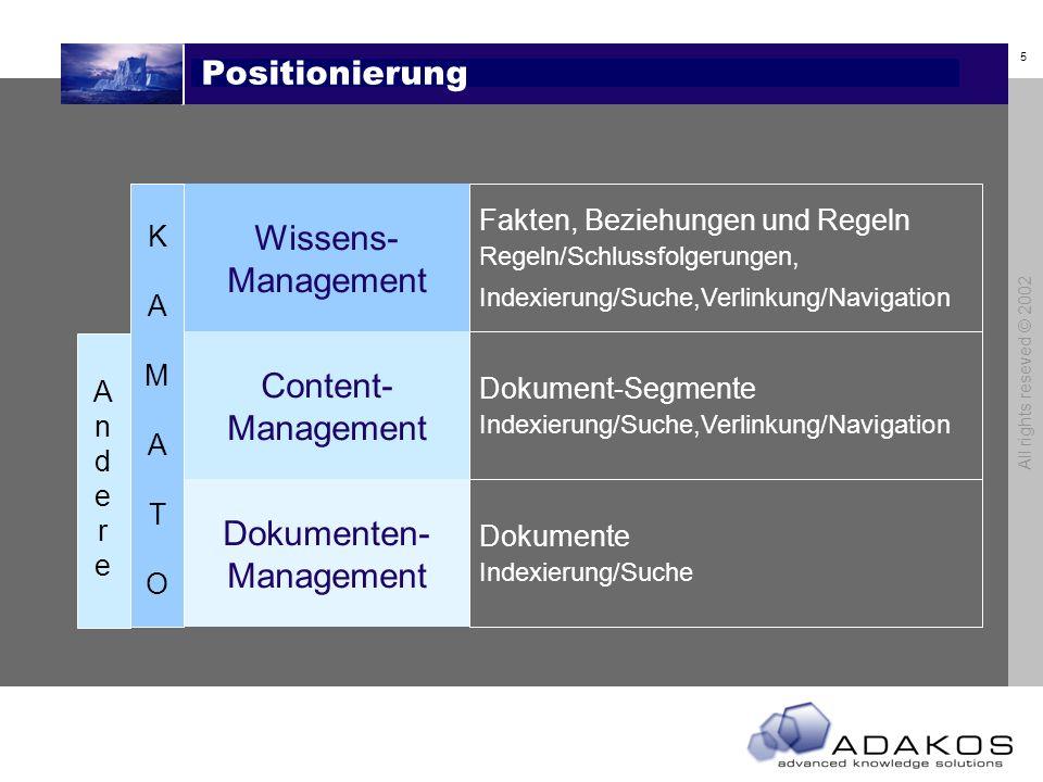 4 All rights reseved © 2002 Geschäftsfelder Lösungsanbieter DienstleistungSoftware Life Science Fachverlage Industrie Wissens-Management (inkl. Conten