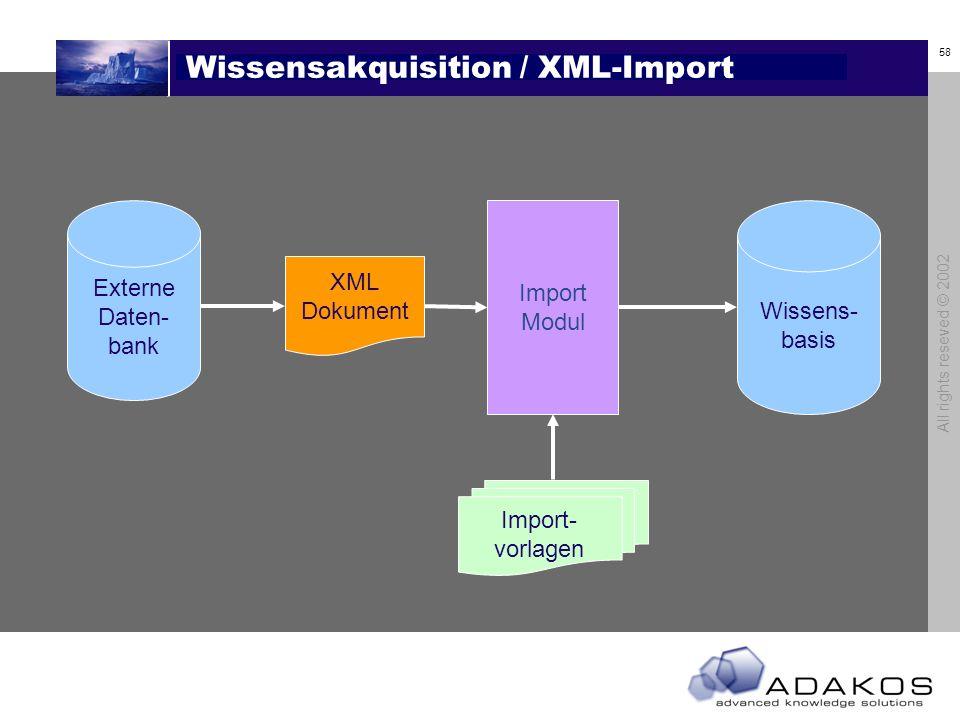 58 All rights reseved © 2002 Wissensakquisition / XML-Import Import Modul Import- vorlagen Wissens- basis XML Dokument Externe Daten- bank
