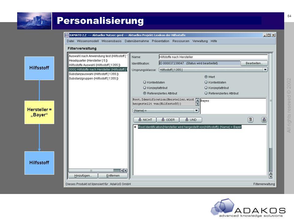 64 All rights reseved © 2002 Personalisierung Hilfsstoff Hersteller = Bayer