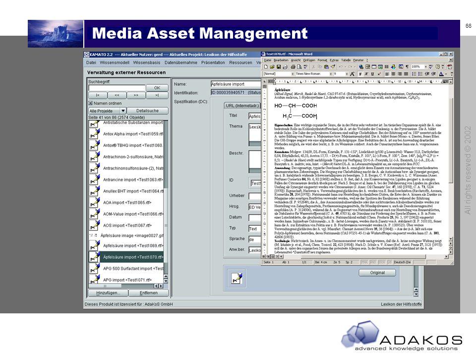 66 All rights reseved © 2002 Media Asset Management