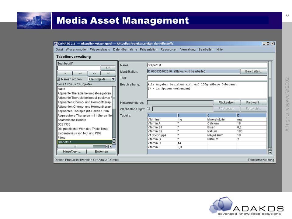 68 All rights reseved © 2002 Media Asset Management