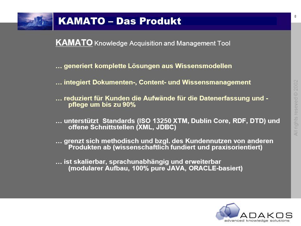 8 All rights reseved © 2002 KAMATO – Das Produkt KAMATO Knowledge Acquisition and Management Tool … generiert komplette Lösungen aus Wissensmodellen … integiert Dokumenten-, Content- und Wissensmanagement … reduziert für Kunden die Aufwände für die Datenerfassung und - pflege um bis zu 90% … unterstützt Standards (ISO 13250 XTM, Dublin Core, RDF, DTD) und offene Schnittstellen (XML, JDBC) … grenzt sich methodisch und bzgl.