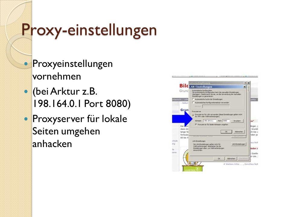 Proxy-einstellungen Proxyeinstellungen vornehmen (bei Arktur z.B.