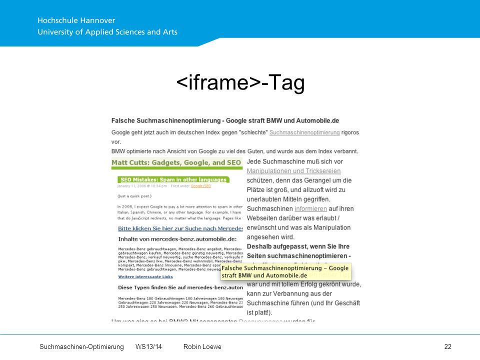 Suchmaschinen-Optimierung WS13/14Robin Loewe 22 -Tag