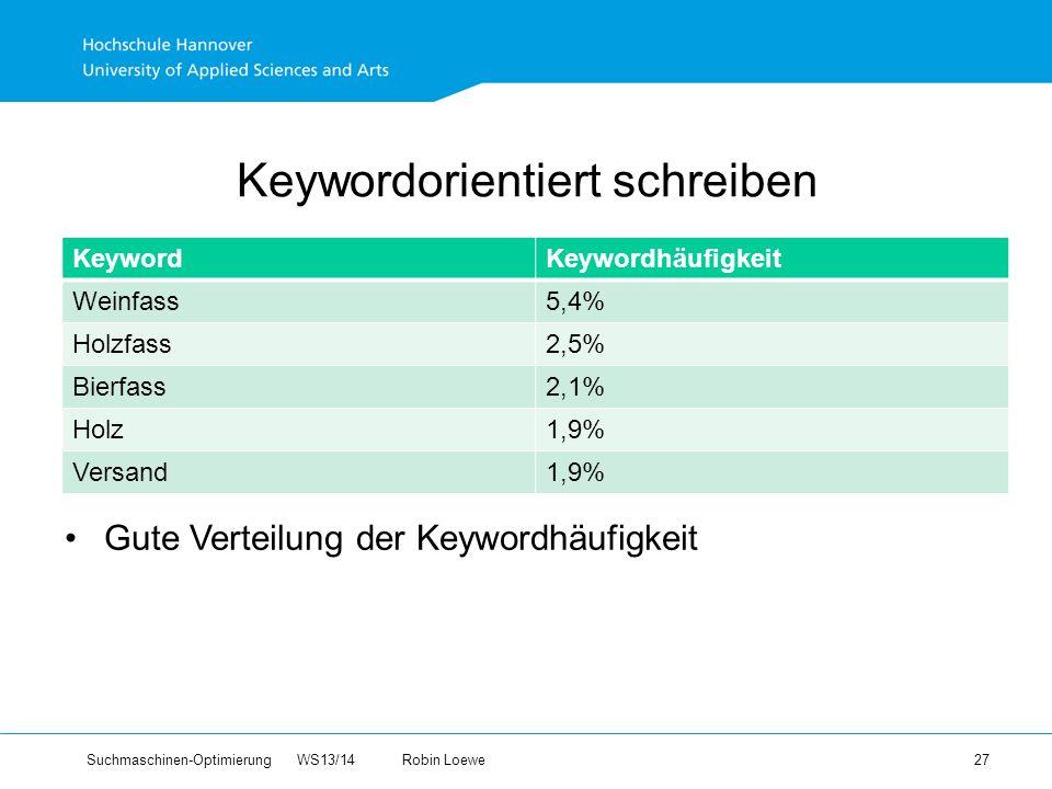 Suchmaschinen-Optimierung WS13/14Robin Loewe 27 Keywordorientiert schreiben KeywordKeywordhäufigkeit Weinfass5,4% Holzfass2,5% Bierfass2,1% Holz1,9% Versand1,9% Gute Verteilung der Keywordhäufigkeit