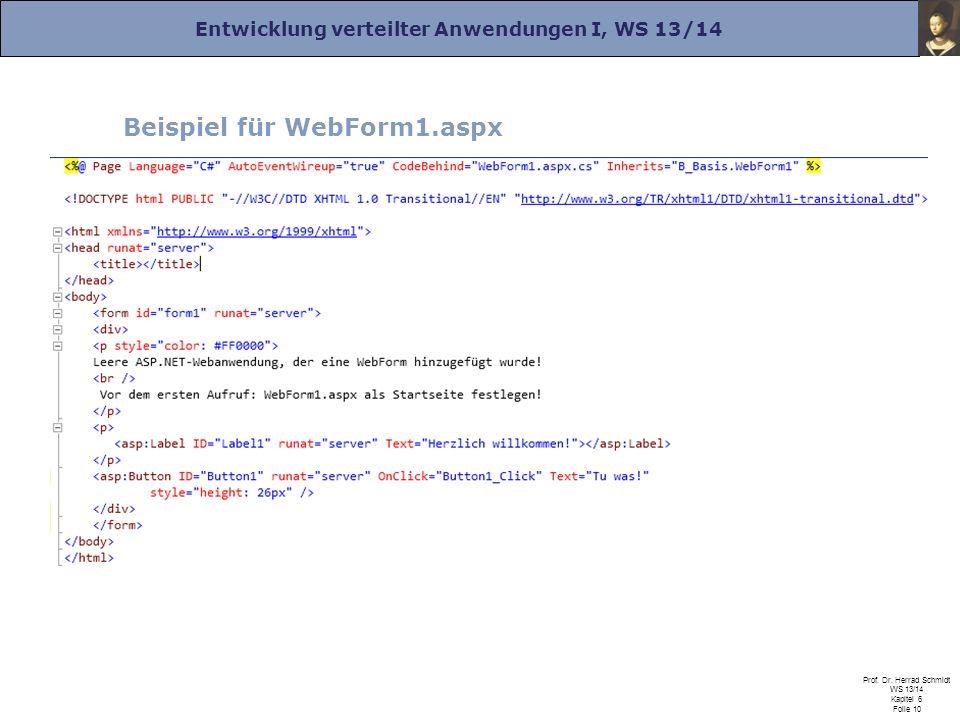 Entwicklung verteilter Anwendungen I, WS 13/14 Prof. Dr. Herrad Schmidt WS 13/14 Kapitel 6 Folie 10 Beispiel für WebForm1.aspx